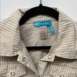 fresh produce Jackets & Coats - Fresh Produce button down taupe jacket M